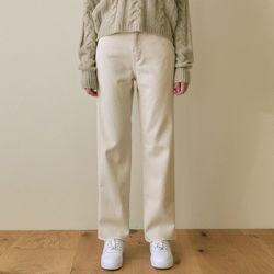 HIGHRISE ECRU COTTON PANTS [CREAM]
