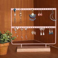 라보떼 원목받침 귀걸이 진열대(핑크)