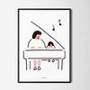 피아노 치는 아이2 M 유니크 인테리어 디자인 포스터 A3(중형)