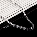 실버925 데일리 목걸이 시리즈 05 볼드 사각체인 (50cm)