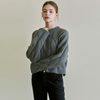 CABLE ROUND NECK KNIT [GRAY]