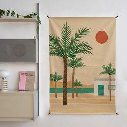 모래사막 일러스트 패브릭 포스터 . 가리개 커튼 (태피스트리)