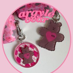 [뮤즈무드] argyle bear key ring (키링)