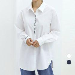 [네오쿠비카]빅사이즈 레터링 포인트 카라 셔츠 WB576