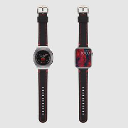 [MR TIME Red Stitch Leather Black] 가죽 시계줄 레드블랙