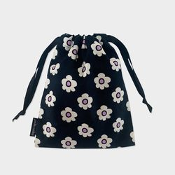 retro flower string pouch m