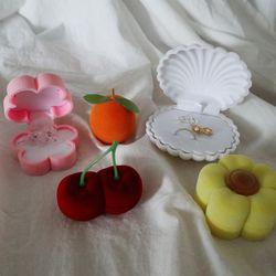 조개 체리 귤 꽃 반지 귀걸이 선물 케이스 쥬얼리 박스 (5color)