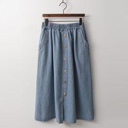 M Button Full Denim Skirt