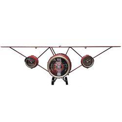 Vintage 조립식 비행기 선반 벽시계 레드 125x40cm