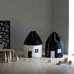 더이쁜 집모양 장난감 수납가방 아이방 캔버스 북유럽