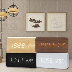우드스타일 탁상 디지털 전자 알람 시계