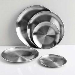 스텐 원형 접시 캠핑 카페 스테인레스 식기 (5size)