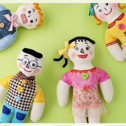 내가꾸미는인형만들기(4개)무지천인형가족친구사람