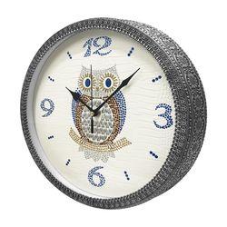 해바라기 테두리 부엉이 벽걸이 시계