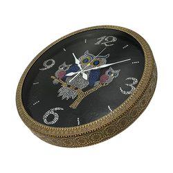 저소음 부엉이 가족 벽걸이 시계 블랙