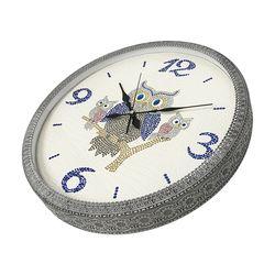 저소음 부엉이 가족 벽걸이 시계 화이트