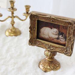 엔틱 골드 테이블 미니장식 - 고양이 액자