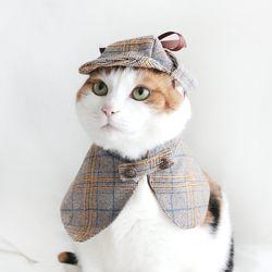 탐정 셜록 망토 고양이옷 강아지옷 모자 할로윈 코스튬 MIYOPET