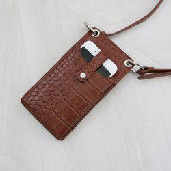 고퀄 와니 미니 사각 핸드폰 지갑 크로스백 (2color)