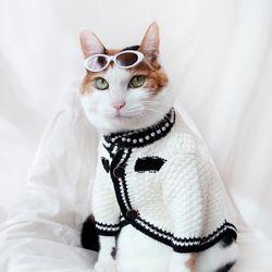 럭셔리 화이트 가디건 고양이 강아지 옷 설빔 선물 MIYOPET