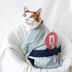 블루 유카타 기모노 고양이 강아지 옷 설빔 할로윈 선물 MIYOPET