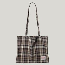 Check pattern eco bag - Brown
