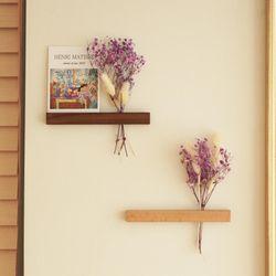 드라이플라워 가랜드 미니꽃다발 보라안개꽃 원목자석 세트