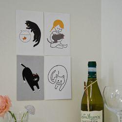 키티 엽서 . 고양이 엽서세트 (10종 세트 RM 315001)
