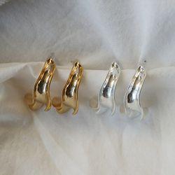 구겨진 볼드 후프 링 티타늄침 귀걸이 (2color)