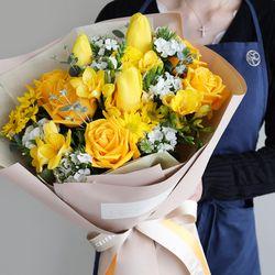 일루미네이팅 옐로 생화가득 꽃다발 프리미엄타입 대형 전국택배