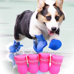 강아지 신발 방수 장화 애견 실리콘 레인부츠 양말
