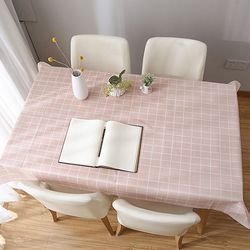 ABM PEVA 체크 식탁보 핑크