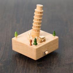 나무 원목 대만 오르골 (피사의사탑)