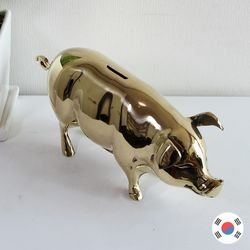 복돼지 저금통 중형 황동 동공예 장식품 STD-518
