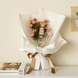 발렌타인 자나장미꽃다발(조화) + 페레로로쉐5T