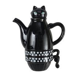 신지카토 도자기 티포투 고양이 400ml