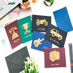 카드박스 크라프트 입체카드 6세트-46-0590