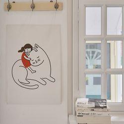 거대고양이 일러스트 패브릭 포스터 . 가리개 커튼 (포스터M)