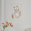 거대고양이 일러스트 패브릭 포스터 . 가리개 커튼 (행잉L)