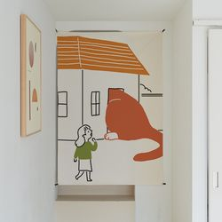 거대고양이 일러스트 패브릭 포스터 . 가리개 커튼 (태피스트리)