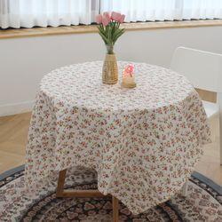 린넨 빈티지 컬러 핑크 잔꽃 테이블보 70 x 70cm