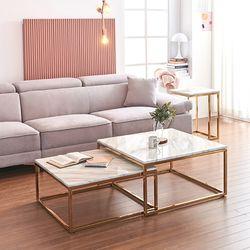 몬스 대리석 골드 확장형 사각 소파 테이블 세트 KEF050