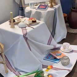 에블린 린넨 콰트로 스트라이프 방수 식탁보 2인정사각