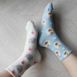 고양이 꽃 포인트 귀여운 파스텔 양말 (2color)