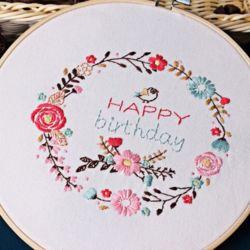 DIY 프랑스 자수 패키지 생일축하 자수실 수틀 도안