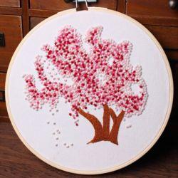 DIY 프랑스 자수 패키지 벚꽃나무 자수실 수틀 도안