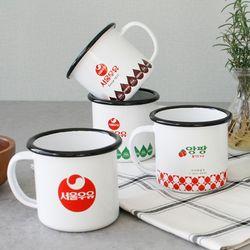 (정품) 서울우유 레트로 법랑 머그잔 (캠핑) - 5type