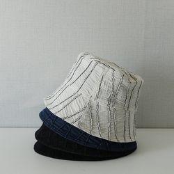 주름 스트라이프 데님 다운 벙거지 모자 버킷햇 (4color)