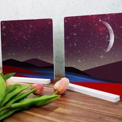 ps952-스탠드액자2P밤하늘일러스트(달)