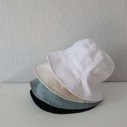 골지 코튼 밴딩 숏챙 무지 벙거지 모자 버킷햇 (4color)